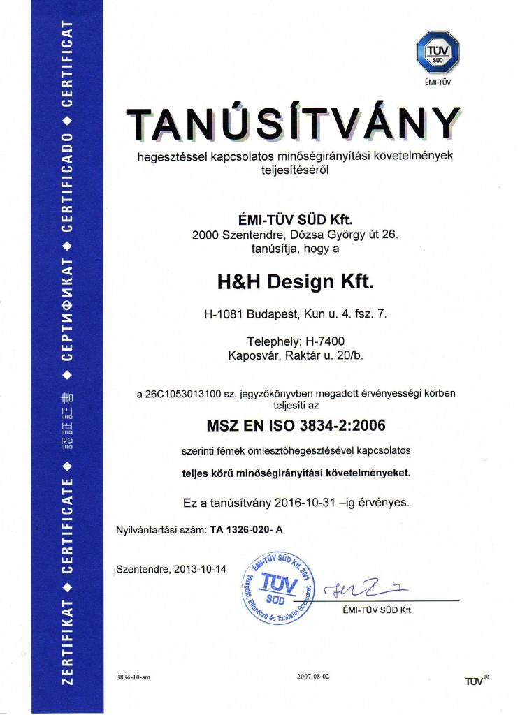 TÜV Tanúsítvány H&H Design